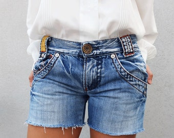 Vintage Denim Shorts, Ripped Shorts, Frayed Shorts, Italian Brand, Cotton Shorts, Summer Shorts, 90s, Vintage Clothing, 1990