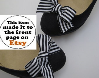 Black & White Striped Bow Shoe Clips FREE SHIPPING
