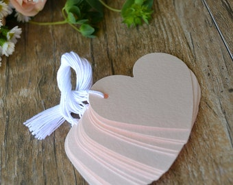 blush pink heart tags with string, pink heart gift tags, pink heart price tags, pink heart favor tags, pink wedding favor tags- 15 tags