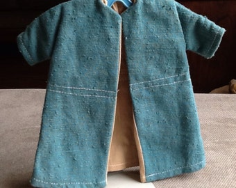 Vintage Hand Made Doll Swing Coat Turquoise/Teal Lined OOAK From The 1960s
