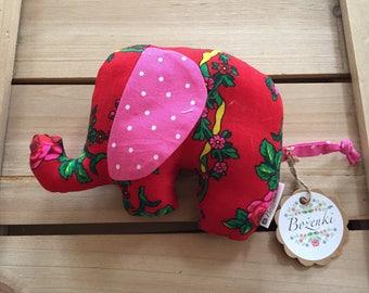 Plush Red floral Goralski elephant Toy