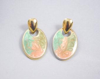 Sharbat doorknocker earrings | enamel hoop earrings | vintage hoop earrings