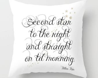 Second Star to the Right and straight on til morning, Pillow Cover, Kids Pillow, Childrens Pillow, Peter pan pillow cover, book lover quote