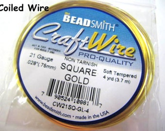 Craft Wire Gold Coiled 21 Gauge Square, Twisting Wire, Non-Tarnish, 4 Yards, Beadsmith, Wire Wrapping, Soft Temper