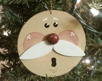 Wood Opera Singer Face Santa Ornament