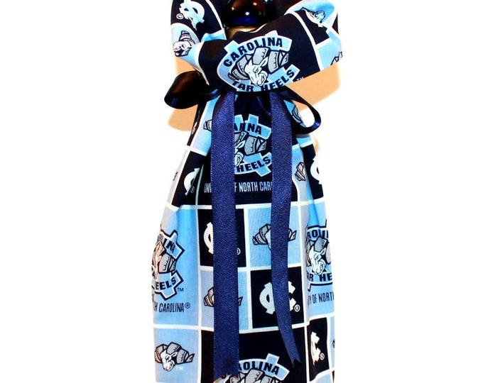 CAROLINA TAR HEELS Fabric Wine ~ Gift Bag ~ Sack ~ Tote ~ Bell Art Designs WB45