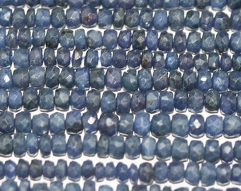 "37"" St Sapphire Faceted Rondelle 4x2mm.-Strand 37cm."