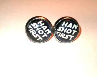 Han shot first Earrings silver 10 mm 1 cm Star Wars