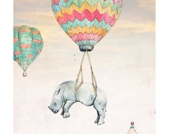 Float On | A5 prints | Alykat Creative Escape from the Circus series | Baby rhino hot air balloon