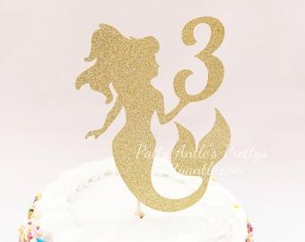 Glitter Mermaid Birthday Cake Topper, Mermaid Cake Topper, Mermaid Birthday Topper, Mermaid Topper, Girl Party Topper, Of the Sea Topper