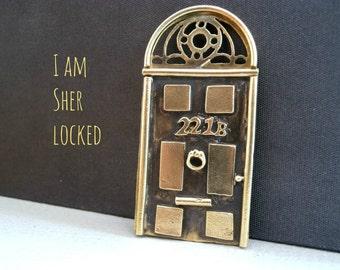 """Sherlock 221b Door Pendant - SHERLOCK """"221B Door"""" Necklace - Sherlock Door Handmade Metalwork Jewelry - 221B Door Necklace"""