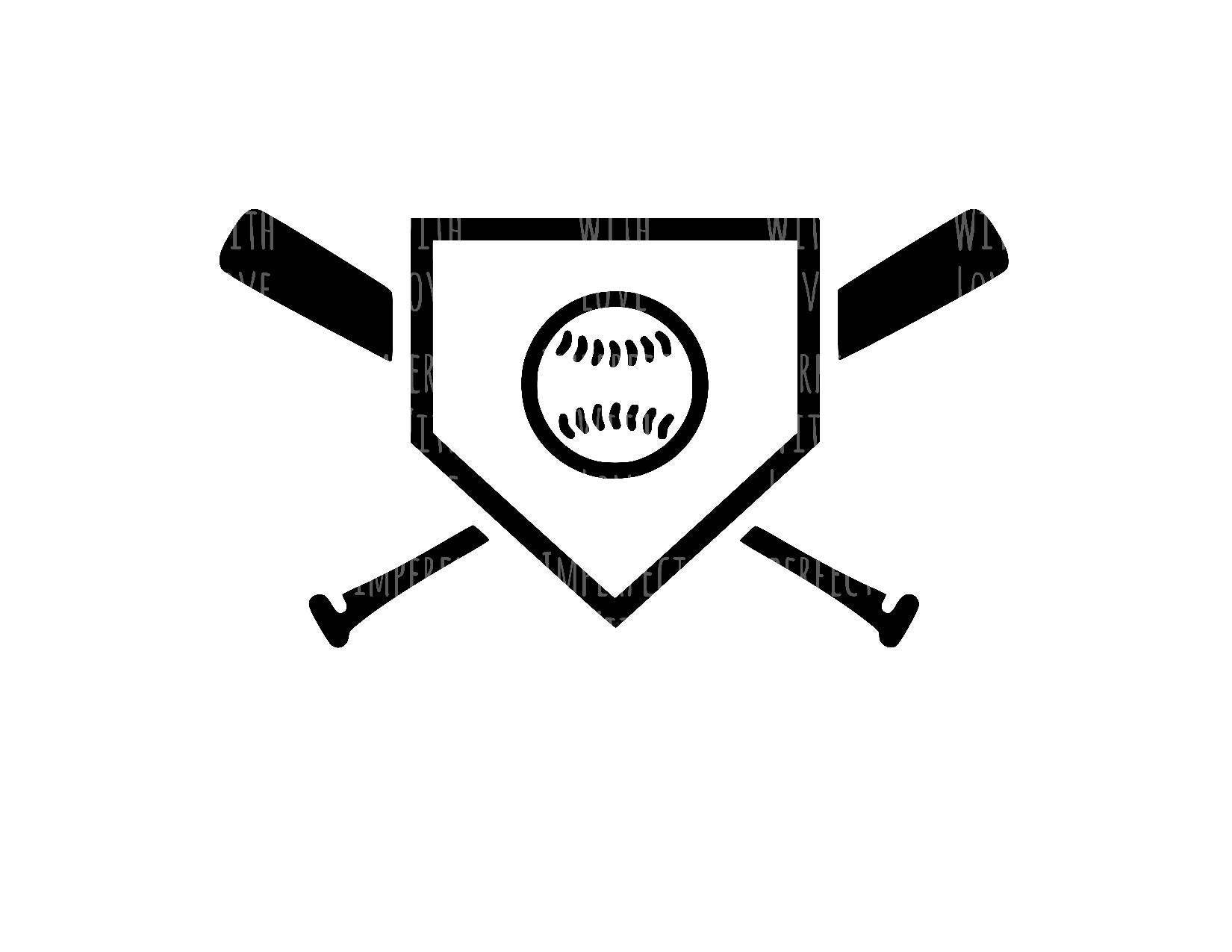 Baseball Home Plate Baseball Bat Digital Cut File Svg