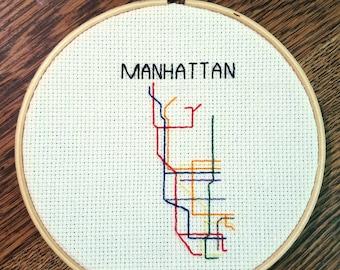 Manhattan Subway Map, Finished Cross Stitch