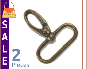 "On Sale : 1-1/2 Inch Swivel Snap Hooks, Antique Brass / Bronze Finish, 2 Pieces, Handbag Purse Hardware Supplies, 1.5"", .1.5 Inch, SNP-AA112"