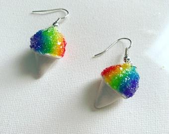 Snow Cone Earrings Rainbow Snow Cones Shaved Ice Earrings Polymer Clay Earrings