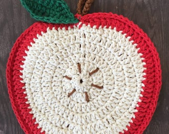 Crochet apple potholder/wall decor