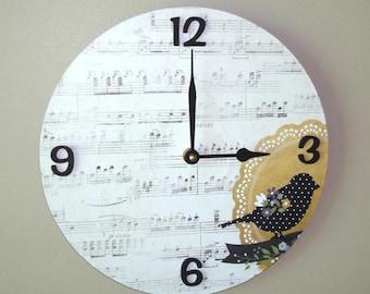 SILENT Bird Wall Clock, Music Wall Clock, 10 Inch Wall Clock, Unique Wall Decor, Sheet Music Clock, Record Clock, Unique Wall Clock - 2219