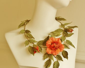 Statement necklace, floral necklace, bridal necklace, Marie Antoinette necklace, silk rose flower necklace, fall wedding