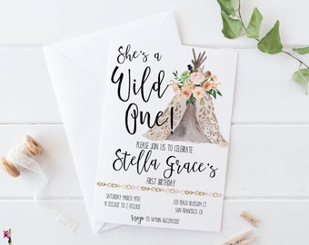 First Birthday Invitation - Shes A Wild One Birthday Invite - Boho Birthday Invitation - Tribal Birthday Invite - Baby Girls First Birthday