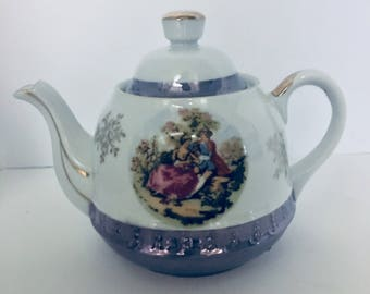 Norleans Courting Couple Blue Lusterware Teapot  4 cup