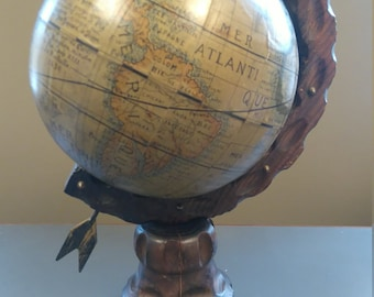 Vintage old style globe finely crafted with wooden based