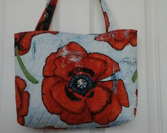 Big Poppy Quilted Tote.  Michael Miller design, hand painted look.