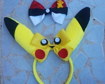 Pokemon headband, pokemon bow, pikachu hair bow, pikachu bow, pikachu headband, pokemon ball hairbow, pokemon ball headbands,