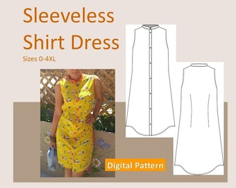 Ladies Sleeveless Shirt Dress - Sizes XS, S, M, L, XL, 2XL, 3XL, 4XL - Downloadable PDF Sewing Pattern, Button Closure, Collar, Plus Size