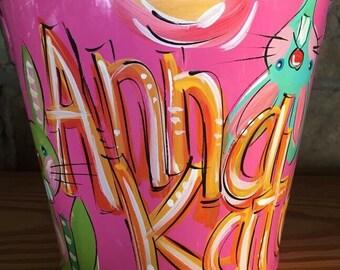 Hot Pink Bucket, Personalized Bucket, Painted Bucket, Hot Pink Pail, Dakri Sinclair