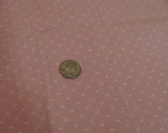 Vintage Dusty Blush Pink Print Cotton Fabric - 1.75 yard