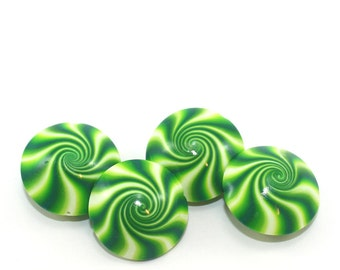 Peppermint beads, Christmas swirl lentil beads, Handmade swirl green and white candy beads, 4 elegant Polymer clay beads for jewelry making