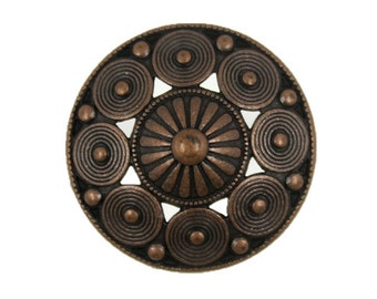 Metal Buttons - Fancy Openwork Conical Metal Shank Buttons in Antiqued Copper Color - 22mm - 7/8 inch - 6 pcs