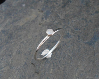 June birthstone ring - Moonstone Skinny sterling silver ring, hammered, 1.2 mm ring. Skinny ring, thin ring, stacking ring.