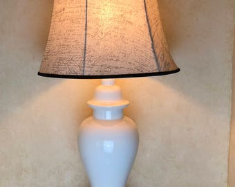 White Glass Lamp with French Writing Lampshade