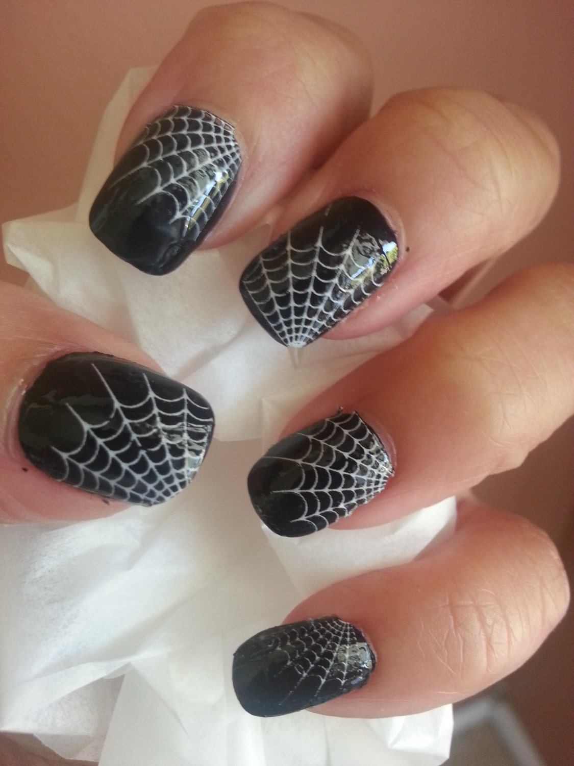 29 White SPIDER WEB Tip Nail Decals WTW Waterslide