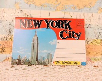 New York City Postcards, New York Memorabilia, USA City Souvenir Book, Statue of Liberty, 1960's America
