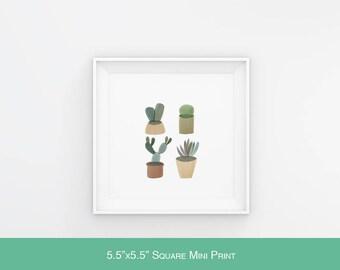 Cactus MINI PRINT // Square Print // Cacti // Succulent // Illustration