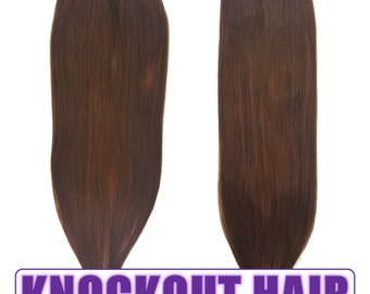 "Fits like a Halo Hair Extensions 20"" Med Golden Brown (#3) - Human No Clip In Flip In Couture by Knockout Hair"