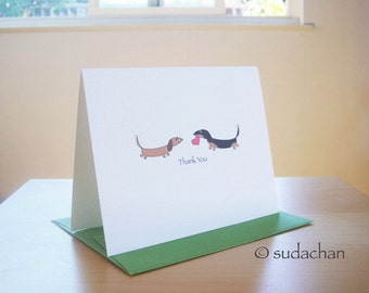 Dachshund Thank You Cards With Heart - Set of 10