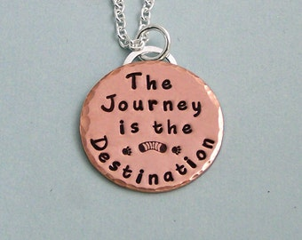 The Journey is the Destination - 14K Rose Gold FilledHand Stamped Necklace - Dog Agility Necklace - Motivational Jewelry