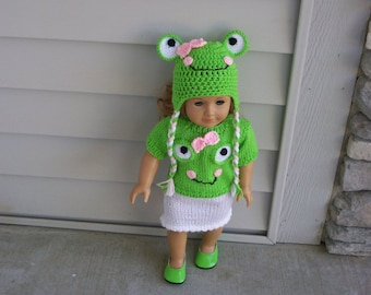 Animal Hats and Sweaters to match Knit Crochet Hand Made Frog Minion Lady Bug 15 and 18 Inch Dolls Toys Dolls Doll Clothes ANY Animal