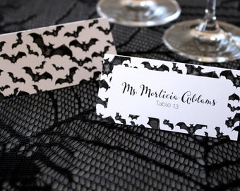 FULL SERVICE Halloween Bats Gothic Escort Cards Spooky Black and White Wedding Place Cards -Script Font