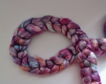 Rose fiber hand dyed top/roving 'Hyacinth'; Ready to Ship!
