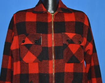 60s Sears Buffalo Plaid Wool Hunting Jacket Medium