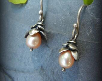 Pink Pearl Earrings, Sterling Capped Pink Pearls, Floral Earrings, Pink Pearl Floral Drop Earrings, June Birthstone, Pearl Bridesmaid Gifts