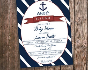 Nautical Baby Shower Invitations - Navy and White - Ahoy It's a Boy! Anchor Baby Shower Invitation - Customized Invites - Nautical PRINTS