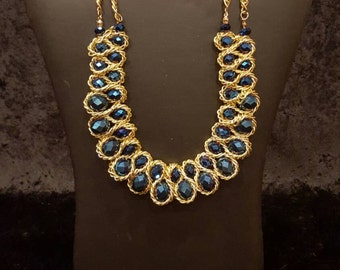 Statement Necklace, Chunky Necklace, Bib Necklace, Blue and Gold Necklace, Unique Necklace