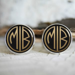 Gatsby retro monogrammed initials personalized cufflinks, cool gifts for men, custom wedding silver plated or black cufflink