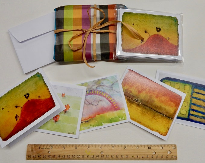 Sample set of 5 Notecards of various tiny watercolor paintings