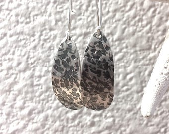 Sterling Silver Earrings with Hammered Texture Design